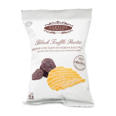 Kartupeļu čipsi ar melnajām trifelēm un jūras sāli  TARTUFI JIMMY, 45g