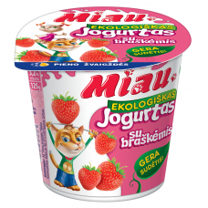 """EKO jogurtas """"MIAU"""" su braškėmis, 3,2%, 125g"""