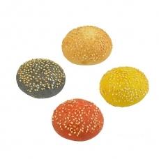 Mėsainio bandelės 4 spalvų su sezamo sėklomis, Party, 4 vnt.*30 g (ŠALDYTA)