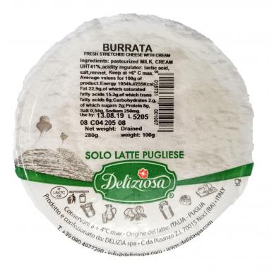 Šviežias sūris Burrata Deliziosa, rieb. 50%, 100g 2