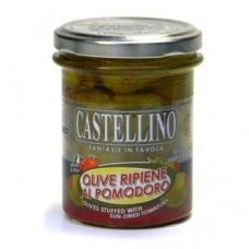 Žaliosios alyvuogės, įdarytos džiovintais pomidorais, aliejuje,  Castellino, 180g
