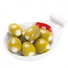 Žaliosios alyvuogės, įdarytos sūriu, Peperados, 140g (grynas svoris), sveriama prekė